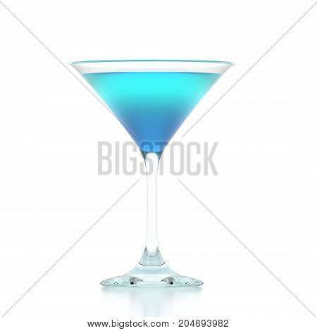 3D rendering of a martini glass on an isolated white background