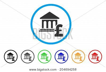 Museum Pound Payment rounded icon. Style is a flat museum pound payment gray symbol inside light blue circle with black, gray, green, blue, red, orange versions.