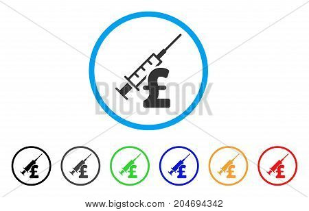 Narcotic Pound Business rounded icon. Style is a flat narcotic pound business grey symbol inside light blue circle with black, gray, green, blue, red, orange versions.