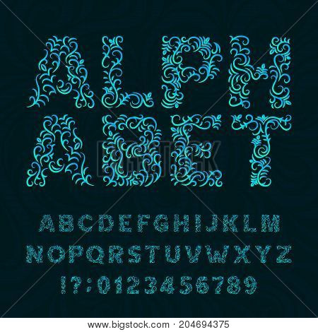 Ornate typeface. Ornamental alphabet font. Effect letters and numbers on a swirl background. Stock vector typeset for your headers or any typography design.