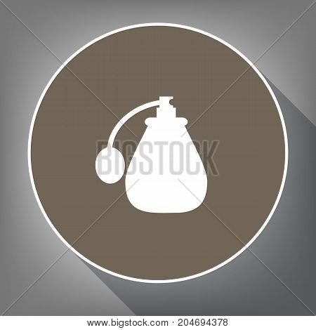 Vector black perfume icon set. Perfume Icon Object, Perfume Icon Picture. Vector. White icon on brown circle with white contour and long shadow at gray background. Like top view on postament.