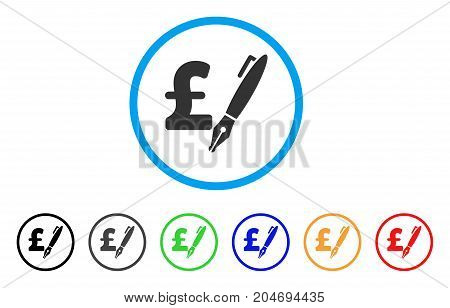 Pencil Pound Price rounded icon. Style is a flat pencil pound price gray symbol inside light blue circle with black, gray, green, blue, red, orange color versions.