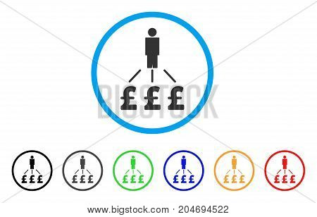 Person Pound Expenses rounded icon. Style is a flat person pound expenses grey symbol inside light blue circle with black, gray, green, blue, red, orange variants.