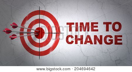 Success time concept: arrows hitting the center of target, Red Time to Change on wall background, 3D rendering