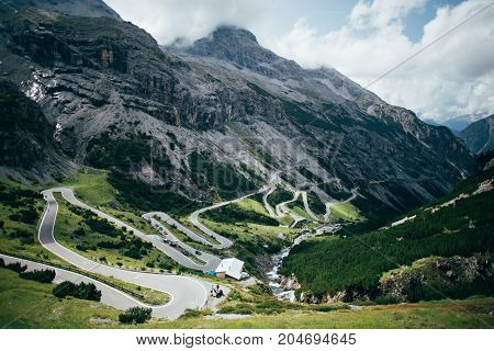 Epic and mesmerizing beautiful road pass high in mountains with tunnels and bridges dangerous switchbacks and hairpin turns amazing landscape of mountains