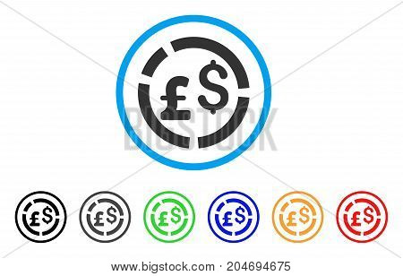 Pound And Dollar Currency Diagram rounded icon. Style is a flat pound and dollar currency diagram gray symbol inside light blue circle with black, gray, green, blue, red, orange color versions.
