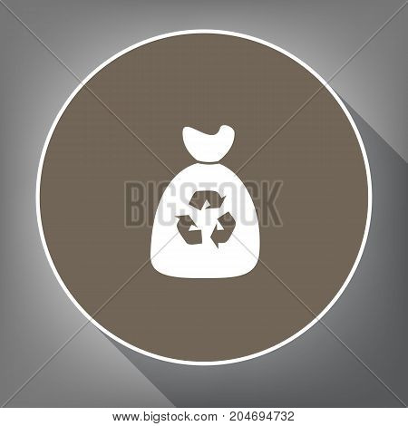 Trash bag icon. Vector. White icon on brown circle with white contour and long shadow at gray background. Like top view on postament.