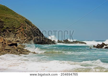 Beautiful rocky beach  in Spain, Atlantic ocean