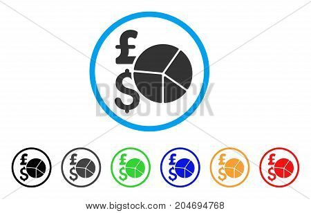 Pound And Dollar Pie Chart rounded icon. Style is a flat pound and dollar pie chart gray symbol inside light blue circle with black, gray, green, blue, red, orange color versions.