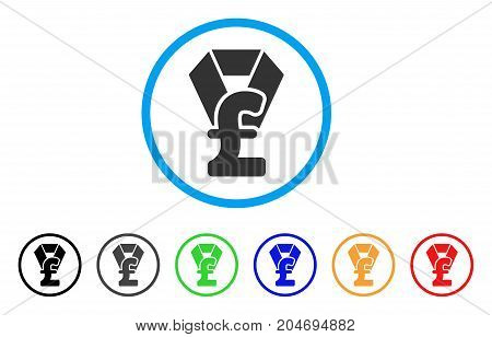 Pound Award rounded icon. Style is a flat pound award gray symbol inside light blue circle with black, gray, green, blue, red, orange color versions. Vector designed for web and software interfaces.
