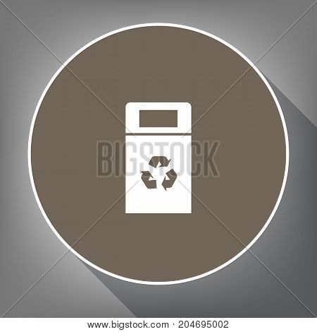 Trashcan sign illustration. Vector. White icon on brown circle with white contour and long shadow at gray background. Like top view on postament.