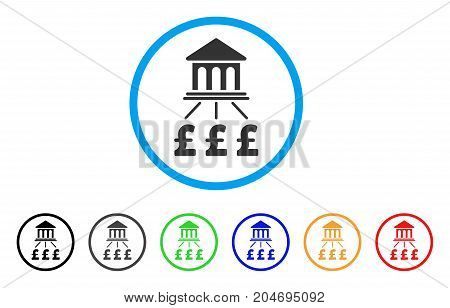 Pound Bank Scheme rounded icon. Style is a flat pound bank scheme gray symbol inside light blue circle with black, gray, green, blue, red, orange color versions.