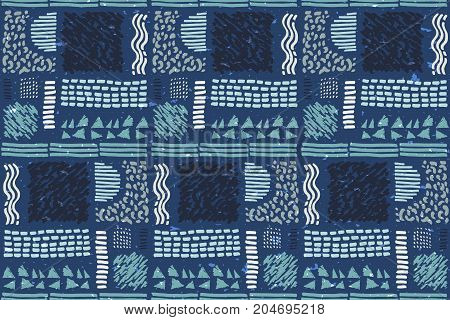 Seamless African pattern. Ethnic ornament on the carpet. Aztec style. Figure tribal embroidery. Indian, Mexican, folk pattern.