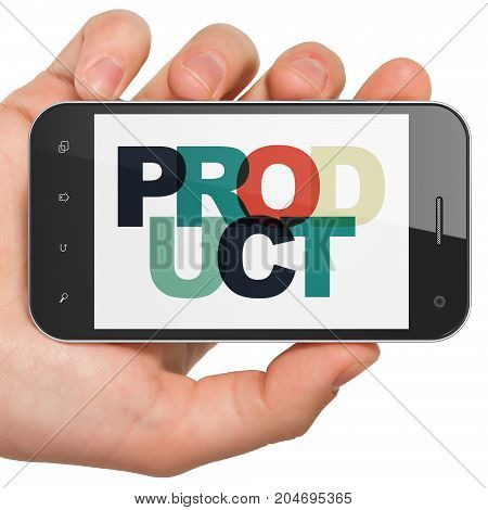 Marketing concept: Hand Holding Smartphone with Painted multicolor text Product on display, 3D rendering