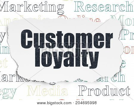Advertising concept: Painted black text Customer Loyalty on Torn Paper background with  Tag Cloud