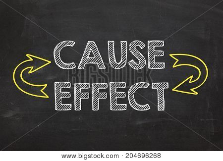 Text Cause and Effect. Cause and Effect information concept on blackboard background. Business Concept.