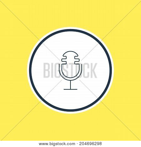 Beautiful Music Element Also Can Be Used As Mike Element.  Vector Illustration Of Microphone Outline.
