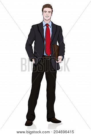 Business Man In Suit With A Tie With A Briefcase In His Hands Standing Front Side, Vector Cartoon Po