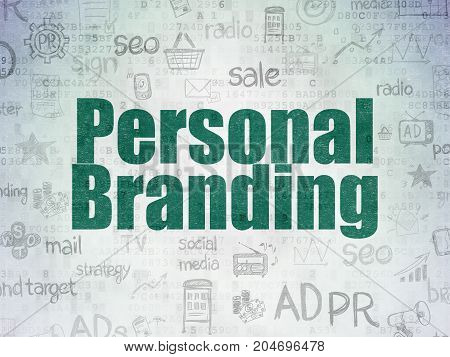Marketing concept: Painted green text Personal Branding on Digital Data Paper background with   Hand Drawn Marketing Icons