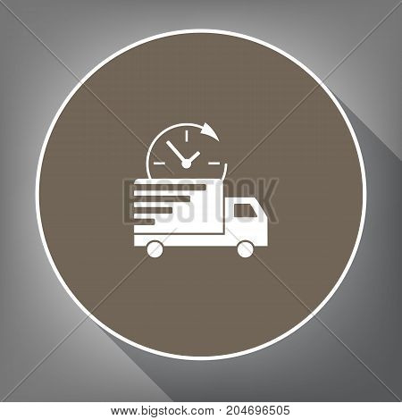 Delivery sign illustration. Vector. White icon on brown circle with white contour and long shadow at gray background. Like top view on postament.