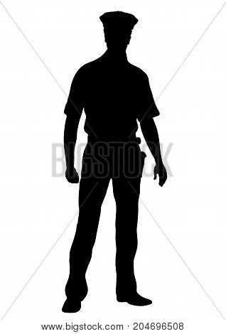Police Officer Vector Silhouette, Outline Man Standing Front Side Full-length, Contour Portrait Male