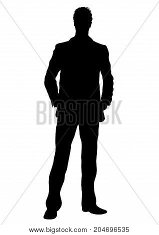 Business man vector silhouette outline portrait male managing in costume standing front side full-length human contour isolated on white background monochrome