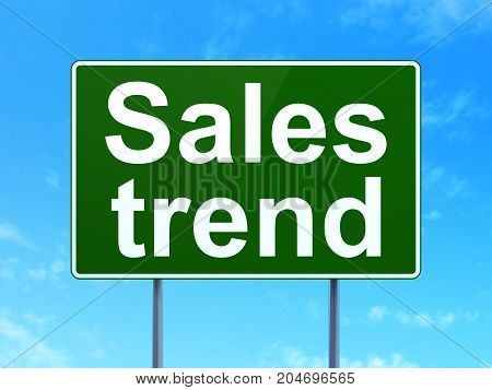 Marketing concept: Sales Trend on green road highway sign, clear blue sky background, 3D rendering