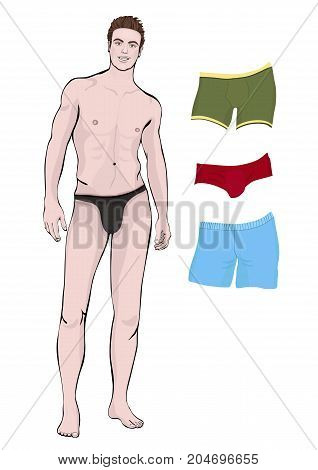 Man In Shorts Standing Front Side Full-length And A Set Of Different Types Of Men S Briefs For Chang