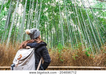 Hipster young girl with backpack enjoying bamboo forest. Tourist traveler on background view mockup. Hiker looking natural in trip in Arashiyama Tokyo Japan country mock up text.