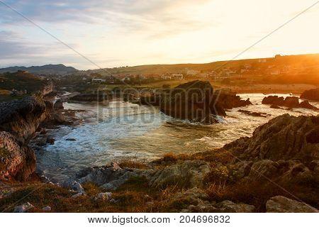 Beautiful sunset of Atlantic ocean's bluff, Spain