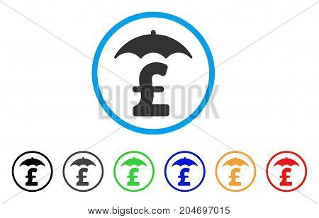 Pound Finances Roof rounded icon. Style is a flat pound finances roof grey symbol inside light blue circle with black, gray, green, blue, red, orange variants.