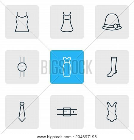 Editable Pack Of Panama, Evening Dress, Swimwear And Other Elements.  Vector Illustration Of 9 Clothes Icons.