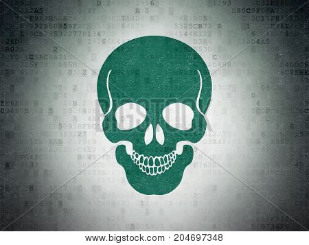 Healthcare concept: Painted green Scull icon on Digital Data Paper background