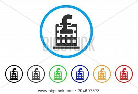 Pound Financial Company Building rounded icon. Style is a flat pound financial company building gray symbol inside light blue circle with black, gray, green, blue, red, orange variants.
