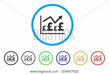 Pound Financial Graph rounded icon. Style is a flat pound financial graph gray symbol inside light blue circle with black, gray, green, blue, red, orange color versions.