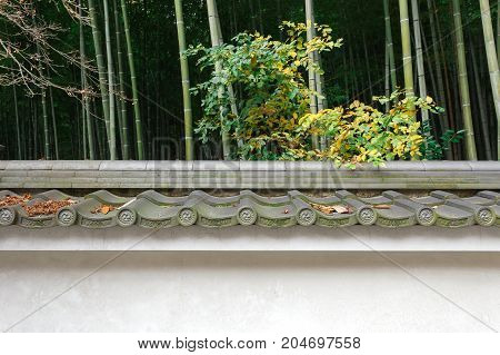 Leaves dried fall on japanese traditional tile roof with bamboo outdoor background Arashiyama Kyoto Japan.