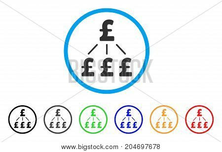 Pound Financial Structure rounded icon. Style is a flat pound financial structure grey symbol inside light blue circle with black, gray, green, blue, red, orange color versions.