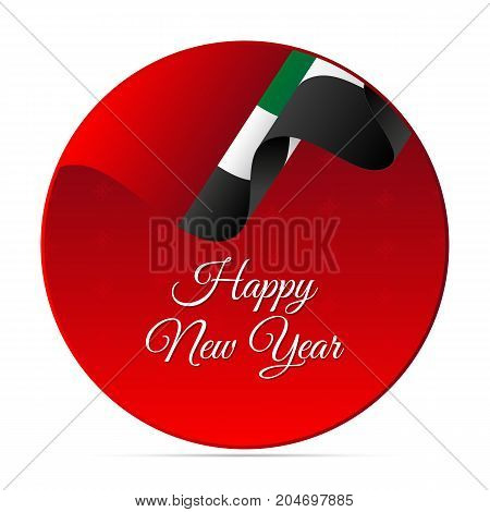 Happy New Year banner or sticker. United Arab Emirates waving flag. Snowflakes background. Vector illustration.