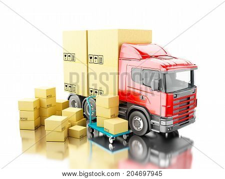 3D Truck With Carboard Boxes And Hand Truck
