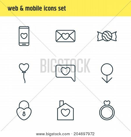 Editable Pack Of Lock, Engagement, Invitation And Other Elements.  Vector Illustration Of 9 Love Icons.