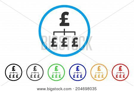 Pound Hierarchy rounded icon. Style is a flat pound hierarchy gray symbol inside light blue circle with black, gray, green, blue, red, orange versions. Vector designed for web and software interfaces.