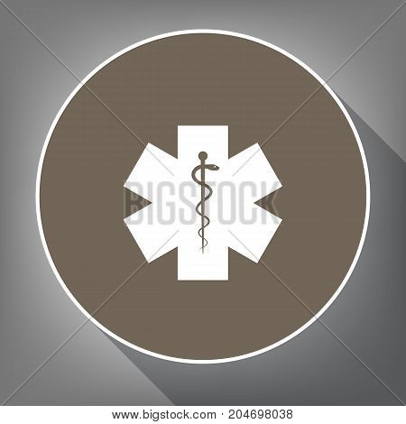 Medical symbol of the Emergency or Star of Life. Vector. White icon on brown circle with white contour and long shadow at gray background. Like top view on postament.