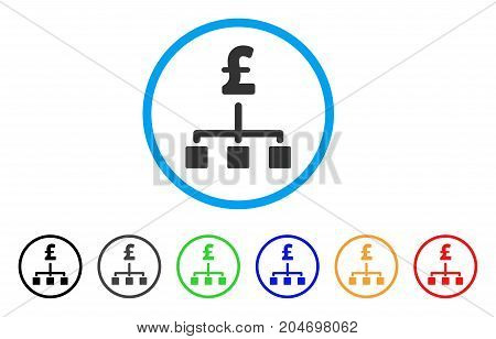 Pound Hierarchy rounded icon. Style is a flat pound hierarchy grey symbol inside light blue circle with black, gray, green, blue, red, orange color versions.