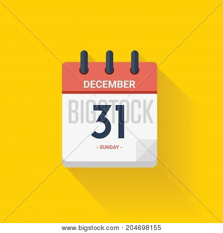 Day Calendar With Date December 31, 2017. Vector Illustration