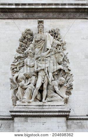 Sculpture on the Arch of Triumph, Paris - La Paix de 1815 by Antoine Etex commemorates the Treaty of Paris, concluded in that year.