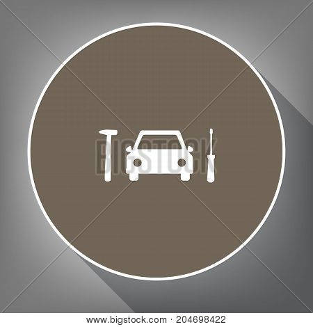 Car tire repair service sign. Vector. White icon on brown circle with white contour and long shadow at gray background. Like top view on postament.