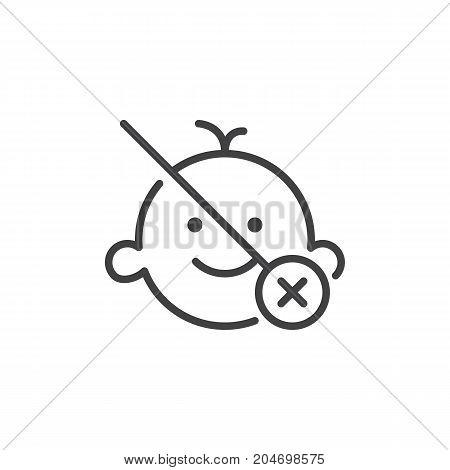 Not suitable for children under age x line icon, outline vector sign, linear style pictogram isolated on white. Symbol, logo illustration. Editable stroke