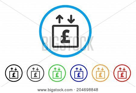 Pound Money Elevator rounded icon. Style is a flat pound money elevator gray symbol inside light blue circle with black, gray, green, blue, red, orange variants.