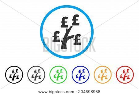 Pound Money Tree rounded icon. Style is a flat pound money tree grey symbol inside light blue circle with black, gray, green, blue, red, orange color versions.