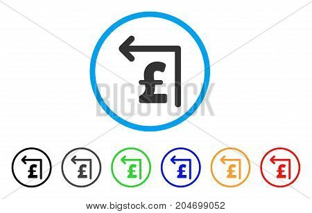 Pound Moneyback rounded icon. Style is a flat pound moneyback grey symbol inside light blue circle with black, gray, green, blue, red, orange versions. Vector designed for web and software interfaces.